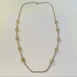 J. Crew round crystal station long gold tone